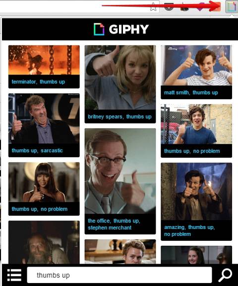 Search in a Giphy extension