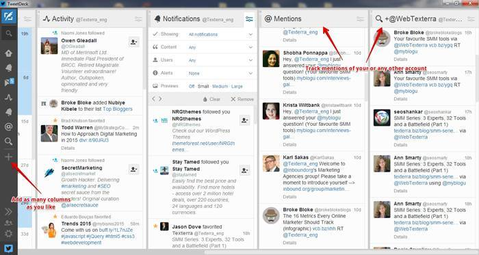 Tweetdeck is full of awesome options. You should definitely give it a shot