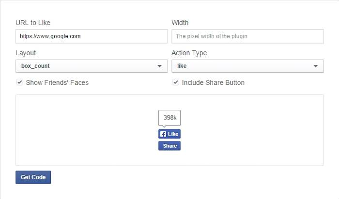 'Like' button plugin settings