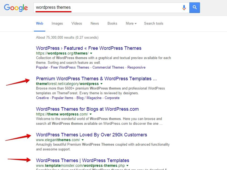 Google knows where to find WordPress themes