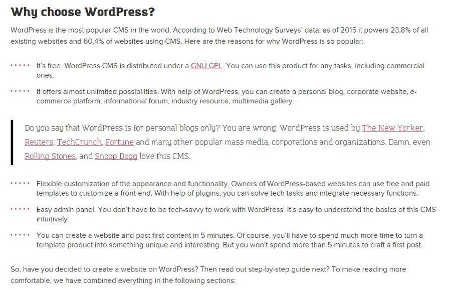 A summary in the WordPress guide