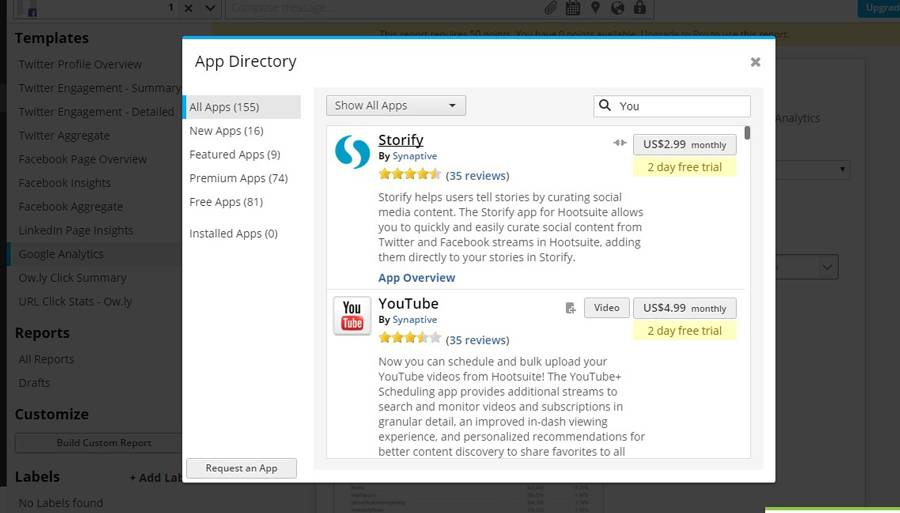 "Applications for YouTube, Storify, etc. NB! ""App Directory is in the pull down menu"